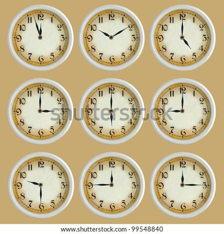 Vintage retro clock set isolated - stock photo