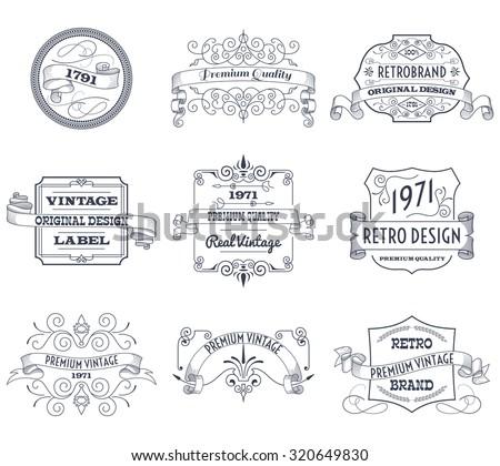 Vintage retro design premium quality business labels set isolated  illustration - stock photo