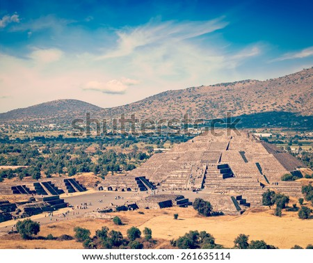 Vintage retro effect filtered hipster style image of famous Mexico landmark tourist attraction - Pyramid of the Moon, view from the Pyramid of the Sun. Teotihuacan, Mexico - stock photo