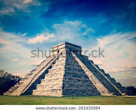 Vintage retro effect filtered hipster style image of Mexico travel background famous mexican landmark - anicent Maya mayan pyramid El Castillo (Kukulkan) in Chichen-Itza, Mexico - stock photo