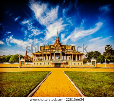 Vintage retro effect filtered hipster style image of  Royal Palace complex, Phnom Penh, Cambodia - stock photo