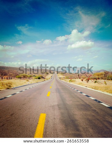 Vintage retro effect filtered hipster style image of travel forward concept background -  road in desert - stock photo