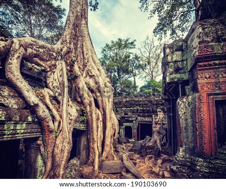 Vintage retro effect filtered hipster style travel image of ancient ruins with tree roots, Ta Prohm temple, Angkor, Cambodia - stock photo