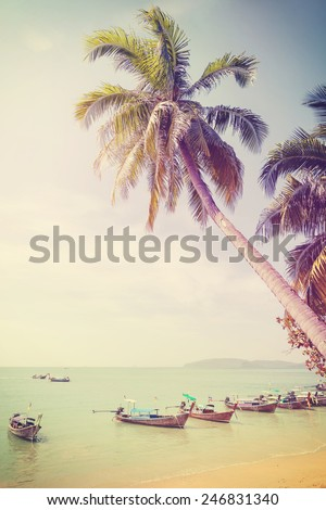 Vintage retro filtered picture of tropical beach.  - stock photo