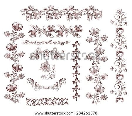 Vintage retro floral seamless borders and design elements - stock photo