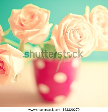 Vintage Retro Flowers - stock photo