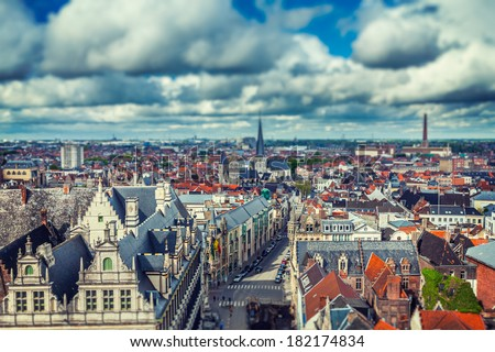 Vintage retro hipster style travel image of aerial view of Ghent from Belfry. Ghent, Belgium with tilt shift toy effect shallow depth of field - stock photo