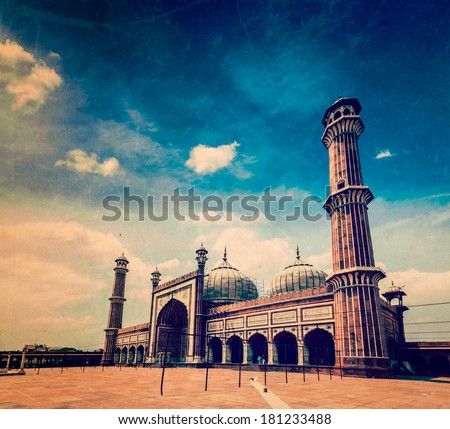 Vintage retro hipster style travel image of Jama Masjid - largest muslim mosque in India with grunge texture overlaid. Delhi, India - stock photo