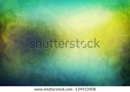 Vintage, retro image of nature landscape with lake and sunny sky. Grunge and creased canvas texture - stock photo