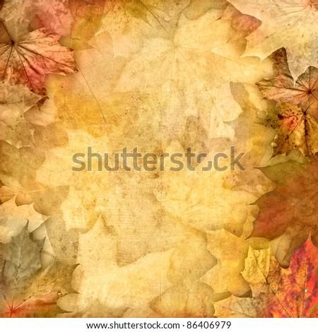 vintage retro leafy background - stock photo