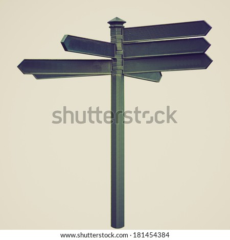 Vintage retro looking A picture of Direction arrows traffic sign