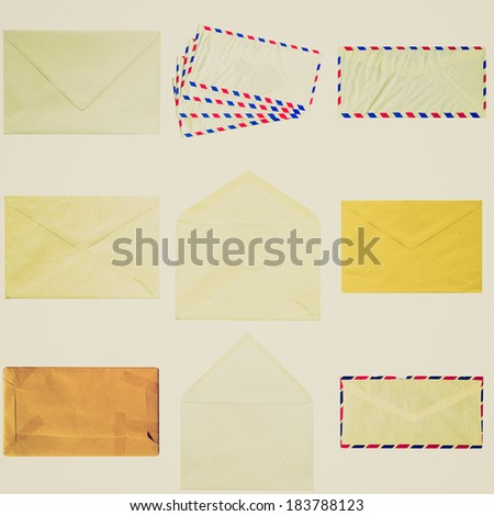 Vintage retro looking Collage of letter or small packet envelope isolated on white