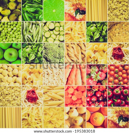 Vintage retro looking Food collage including pictures of vegetables, fruit, pasta and more - stock photo