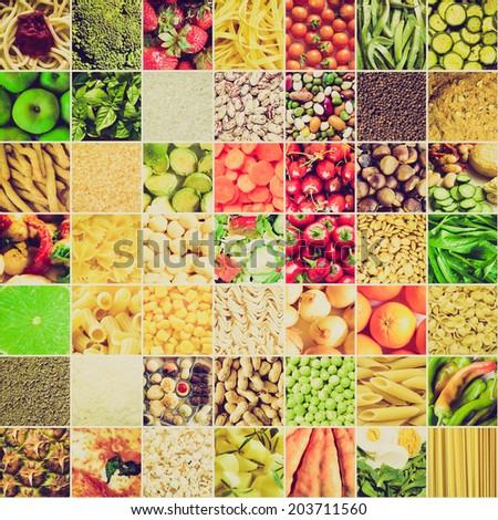 Vintage retro looking Food collage including 49 pictures of vegetables, fruit, pasta and more - stock photo