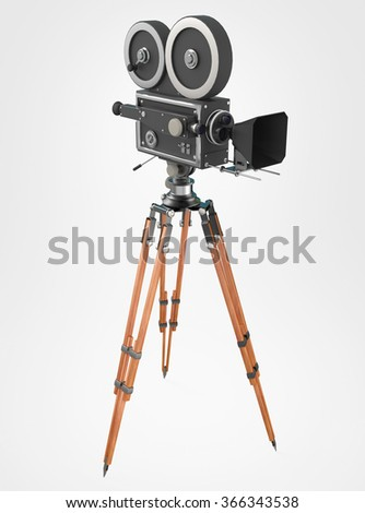 vintage retro movie camera on tripod mount isolated on white high quality 3d rendering  - stock photo
