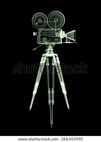 vintage retro movie camera on tripod mount  X-ray view  isolated on white high quality 3d rendering  - stock photo