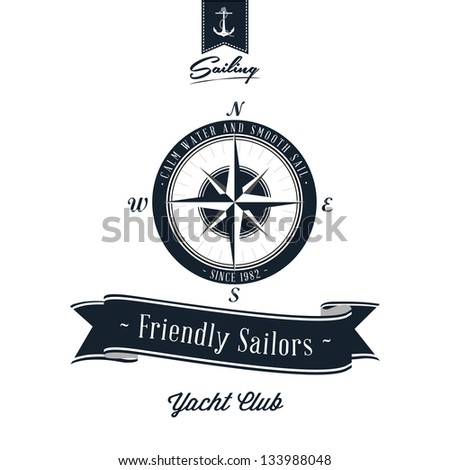 Vintage Retro Nautical Badge - stock photo