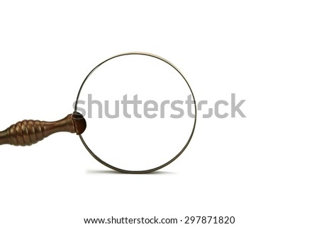 Vintage Retro Old Magnifying Glass Isolated On White Background Close-up - stock photo