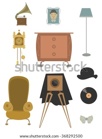 Vintage retro old things set for design. - stock photo