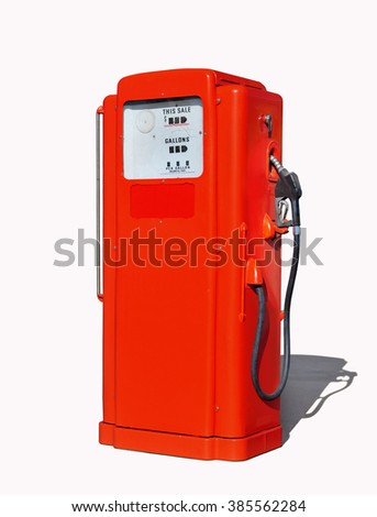 Vintage (retro) red gasoline pump isolated in white background - stock photo