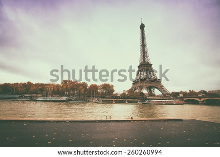vintage retro style. Architecture of Paris .France. Europe - stock photo