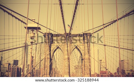 Vintage retro style photo of the Brooklyn Bridge, NYC, USA.