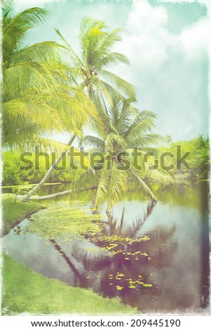 Vintage retro style photo of tropical beach lagoon with coconut palm trees, bright blue sky and clouds  - stock photo