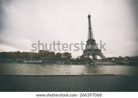 Vintage retro style. Window to Paris. Architecture of Paris .France. Europe - stock photo