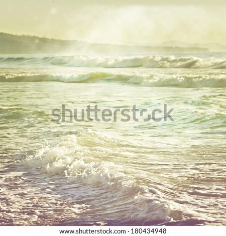 Vintage retro stylized photo of ocean waves   - stock photo