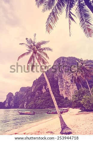 Vintage retro stylized tropical beach with palm trees. - stock photo