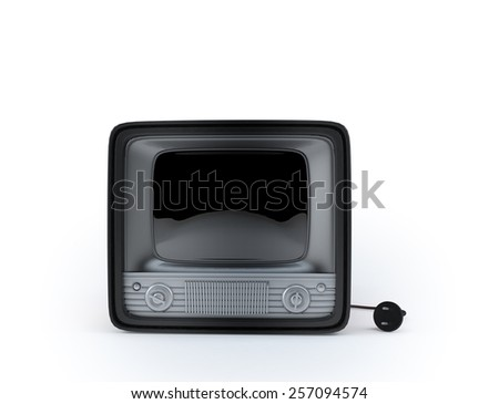 vintage retro tv  3d render isolate on white background. - stock photo