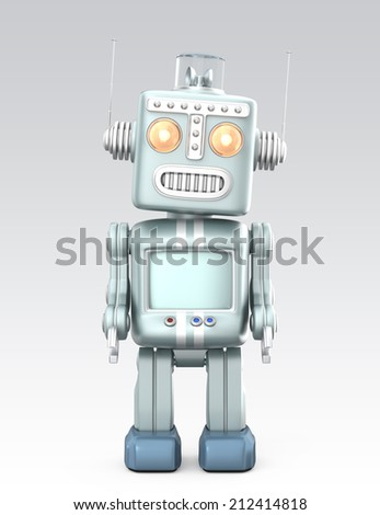 Vintage robot standing in curious.  Isolated on gray background - stock photo
