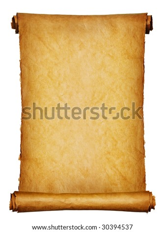 Vintage roll of parchment background isolated on white - stock photo