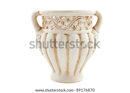 Vintage roman decorative vase isolated over white - stock photo