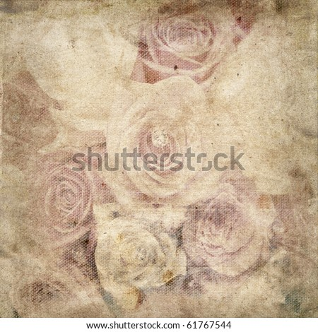 Vintage romantic background with roses - stock photo