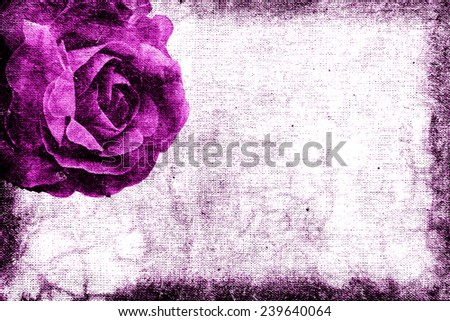 Vintage romantic purple roses fabric for grunge background  - stock photo
