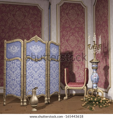 Vintage room with a dressing screen, candelabra and roses