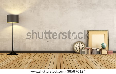 Vintage room with black lamp and vintage objects on wooden floor - 3D Rendering - stock photo