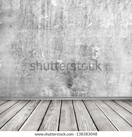 vintage room with brick wall and wooden floor background - stock photo