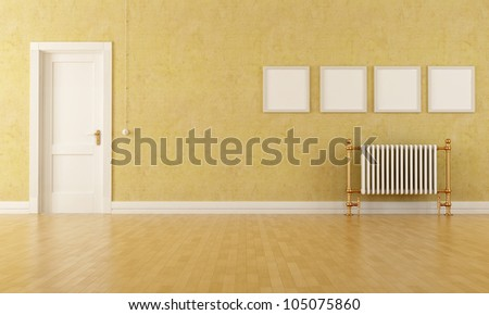 Vintage room with classic door and old radiator - stock photo
