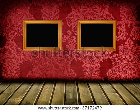 vintage room with red walls - stock photo