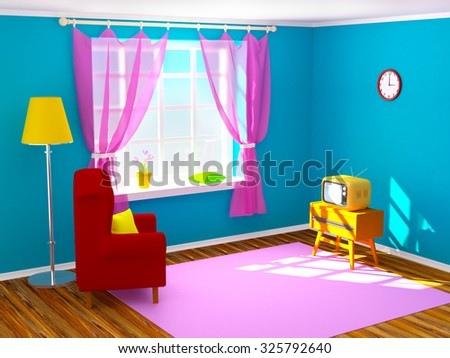 Vintage room with tv in seventies style. 3d illustration.