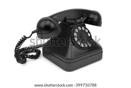 Vintage rotary dial phone isolated with clipping path. 3d rendering