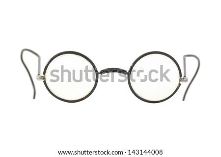 Vintage round eyeglasses isolated on white. - stock photo