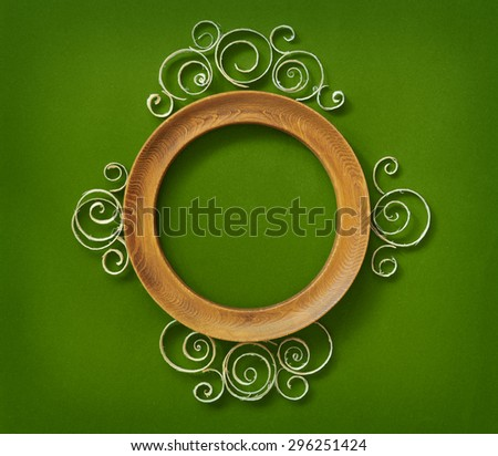 Vintage round wooden frame with shavings. - stock photo