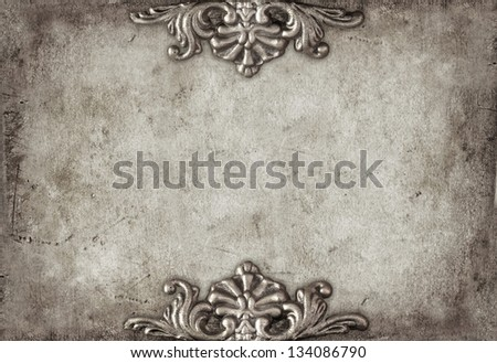 Vintage royal silver horizontal background with floral ornaments - stock photo