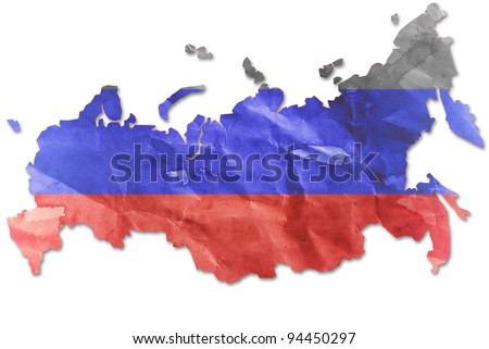 Vintage Russia flag paper grunge. - stock photo