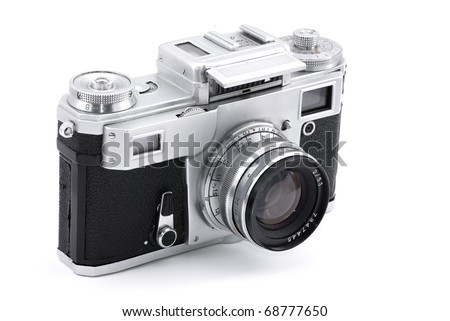 Vintage Russian analog camera isolated on white