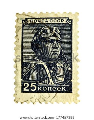 Vintage Russian CCCP Pilot Aviator Stamp - stock photo