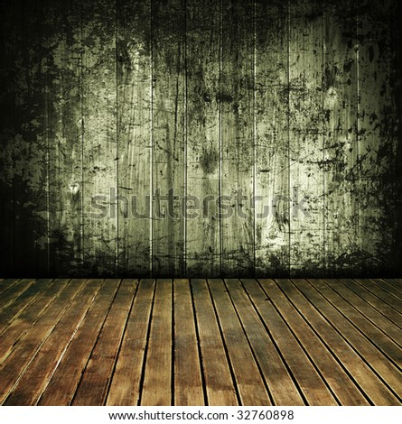 vintage rustic house interior, wood texture background - stock photo